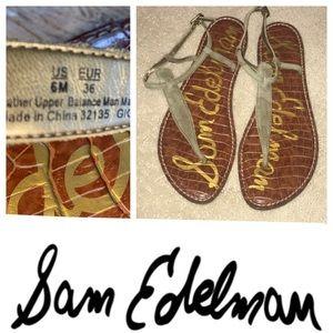 Shoes - NWT Sam Edelman Gigi Camo Gray Leather Sandals. 6M